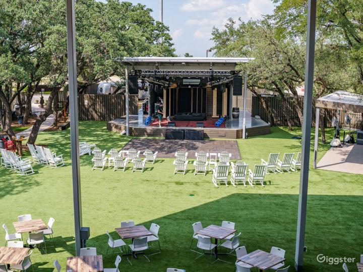 Our 1,500 square foot stage is included in several of our rental packages and is equipped with power, WiFi, and storage areas.