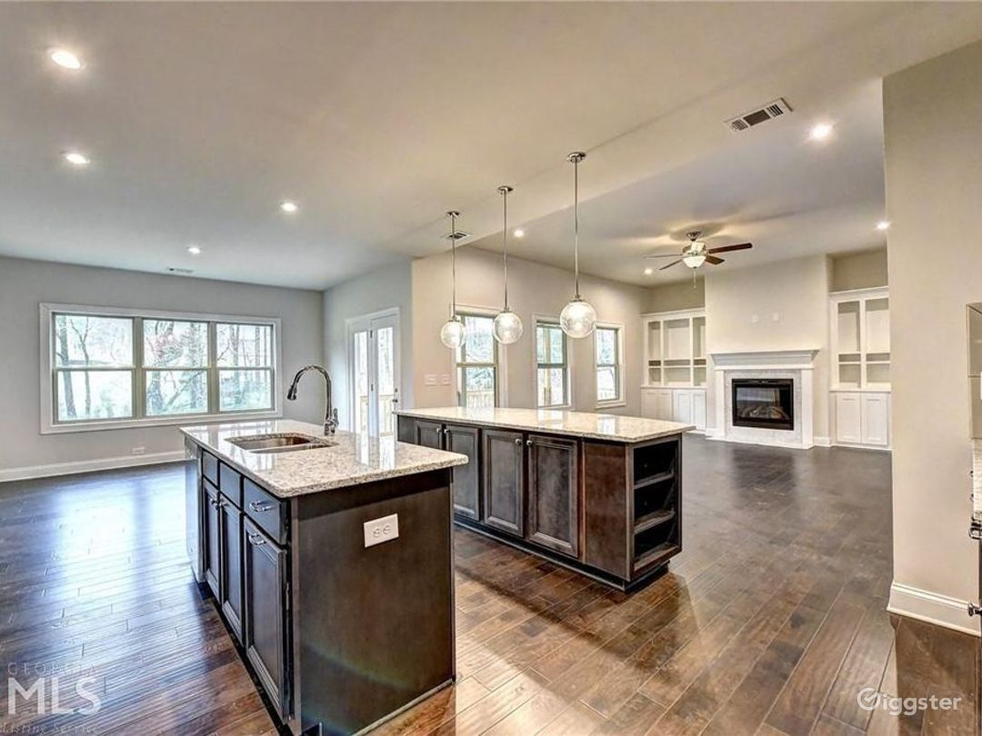 Double Island Kitchen into Family Room from Butler's Pantry Area