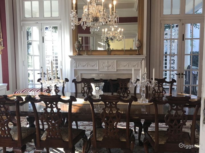 Another view of dining room featuring fireplace