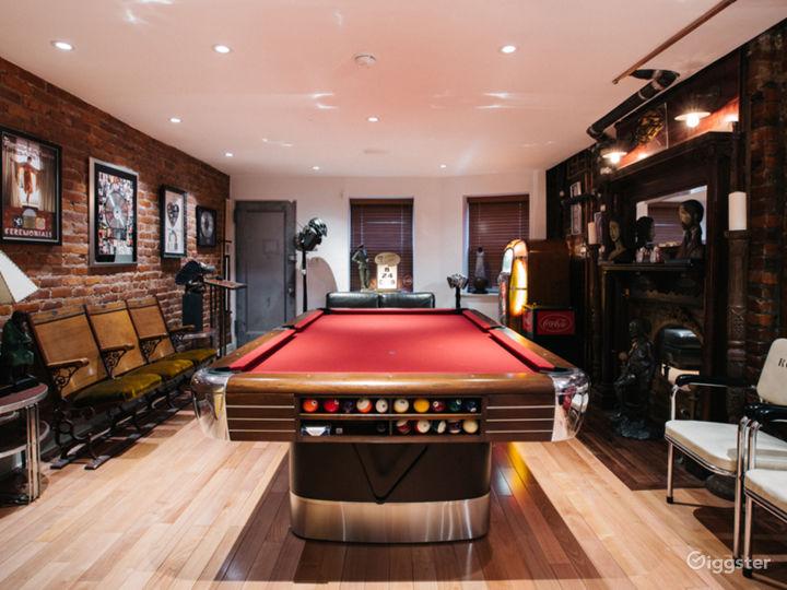 The Pool Room: Original Brunswick 1946 pool table,1950's Rock-Ola juke box, 1900s wood mantel fireplace, antique seating, music, art, and Coca Cola memorabilia