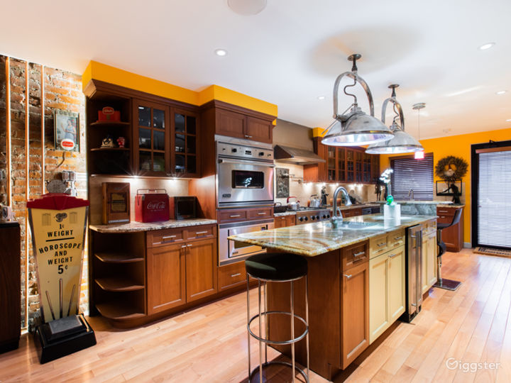 Open Kitchen: Marble countertops and island, Viking stove, oven and microwave, suspended 1940s hospital operating light fixtures, wine cooler, with Art Deco memorabilia