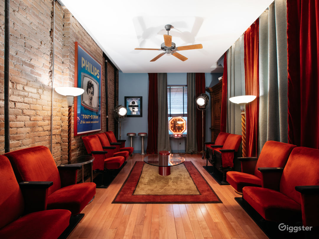Screening Room: Original Radio City Music Hall seats, 1940s Mole Richardson Hollywood lighting, Art Deco torch lamps, original 1950's French television poster art