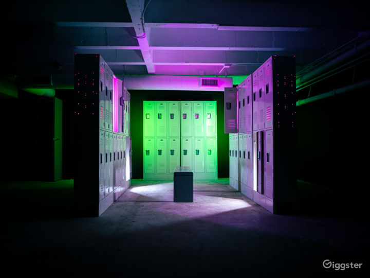 Our locker room scene. With our tube lights to light up on the outside and inside of lockers