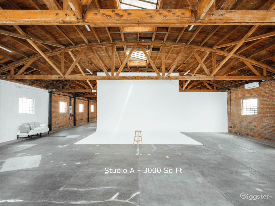 Studio A - 3000 Sq Ft Our largest studio space includes a large white cyclorama, exposed brick and tons of natural afternoon light, Studio A can accommodate up to 40 people and two cars.
