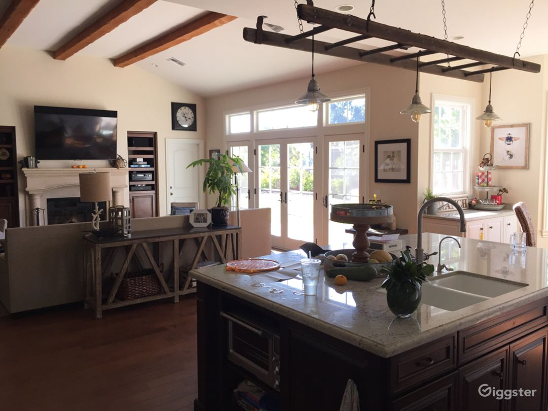 Bright and spacious great room with huge kitchen.