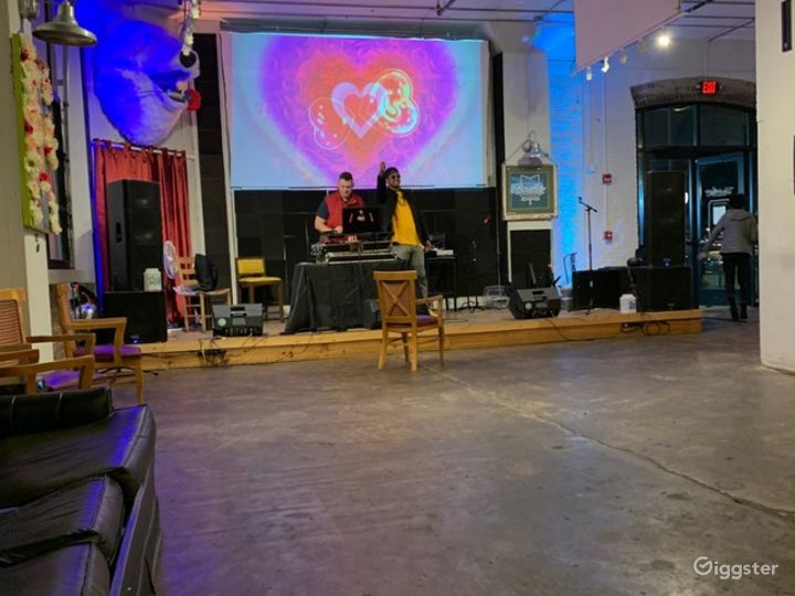 Image of stage and sound & lighting set up