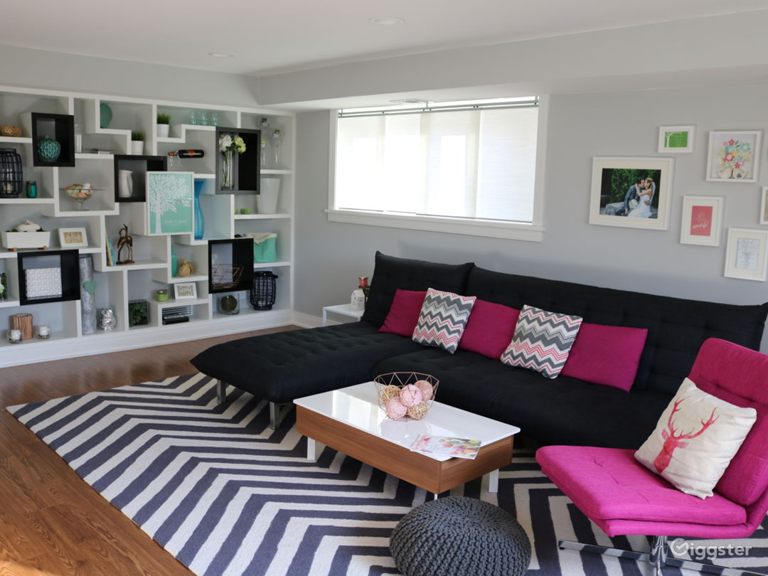 Family room with built ins and a gallery wall.