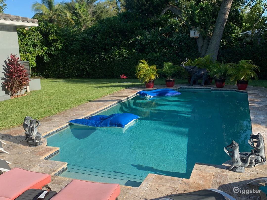 15'x32' rectangular pool - 3 steps below the outdoor kitchen.  Bordered by 6 foot hedges for total privacy