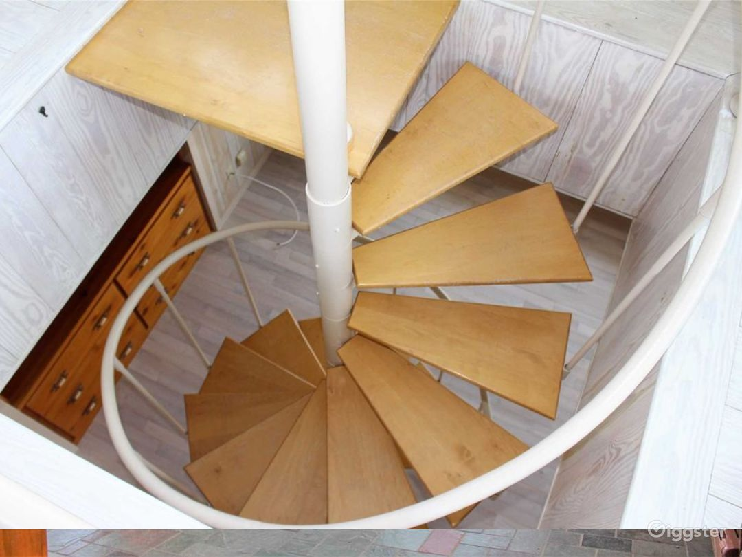 Spiral staircase up to the observation tower