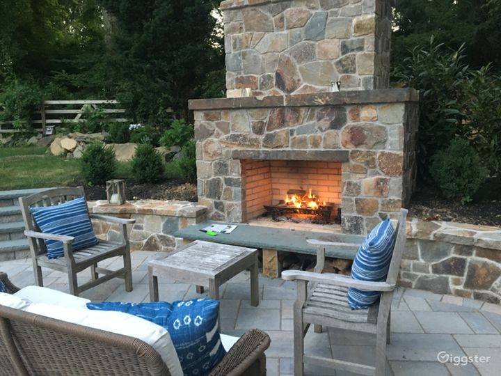 Outdoor fireplace in summer