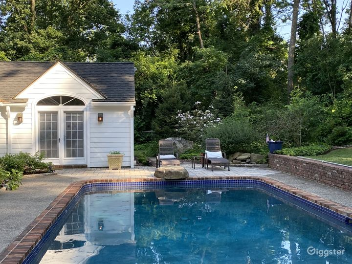 Saltwater pool; French doors to master bedroom