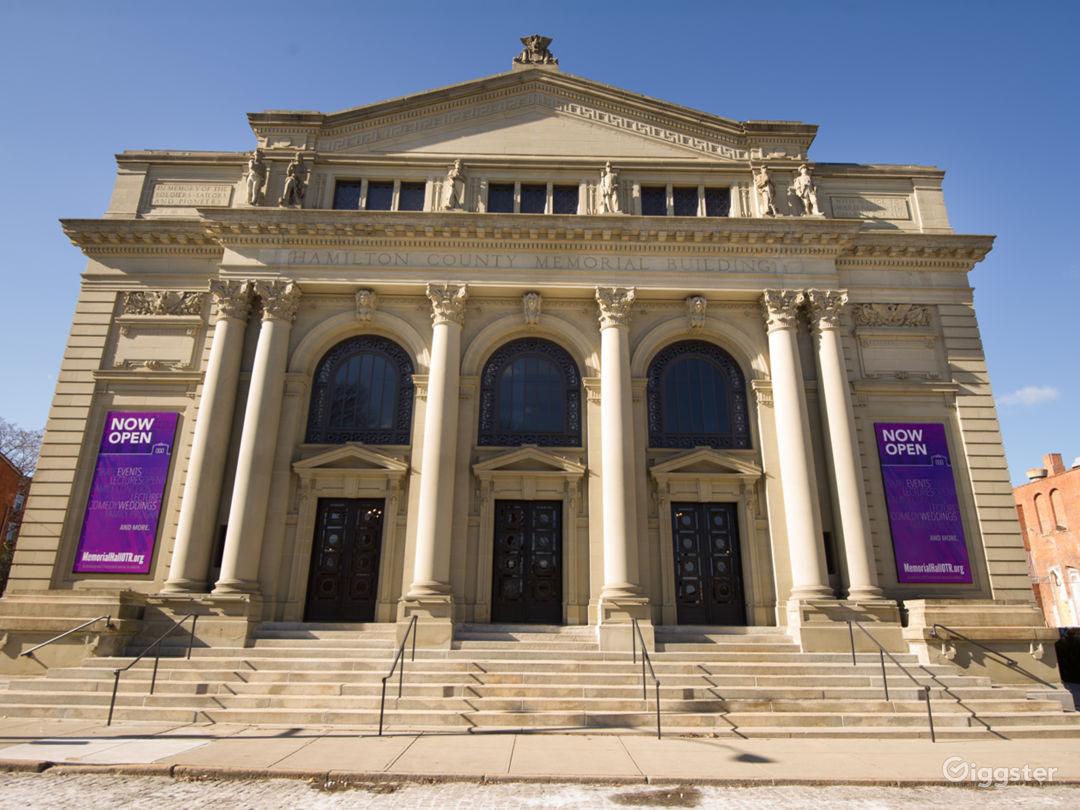 Exterior of historic Memorial Hall