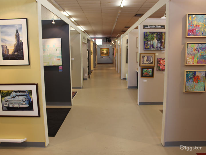 Long hallways with art Gallery Spaces on lining hallway