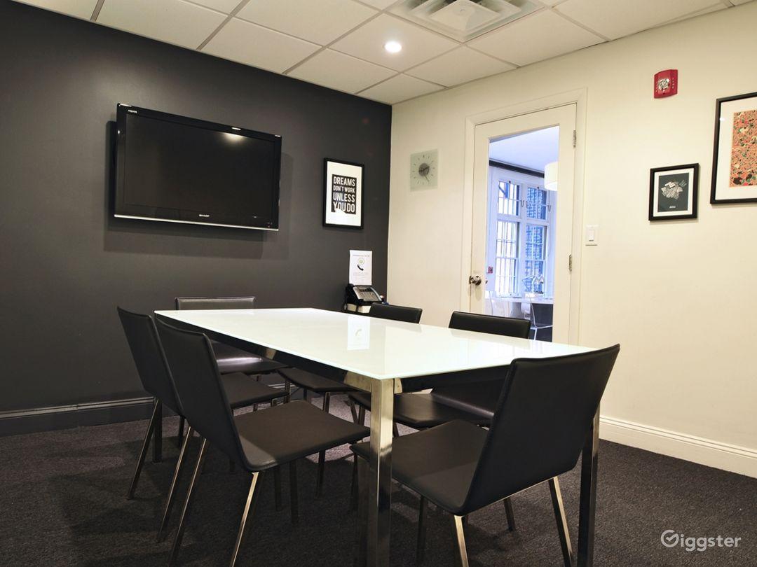Separate meeting room (Duxbury) inside space for 6 people.