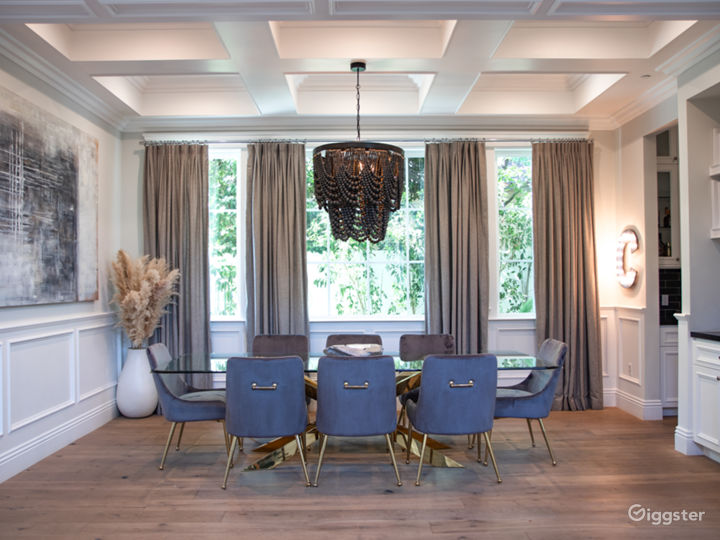 Formal Dining Room with coffered ceilings throughout.