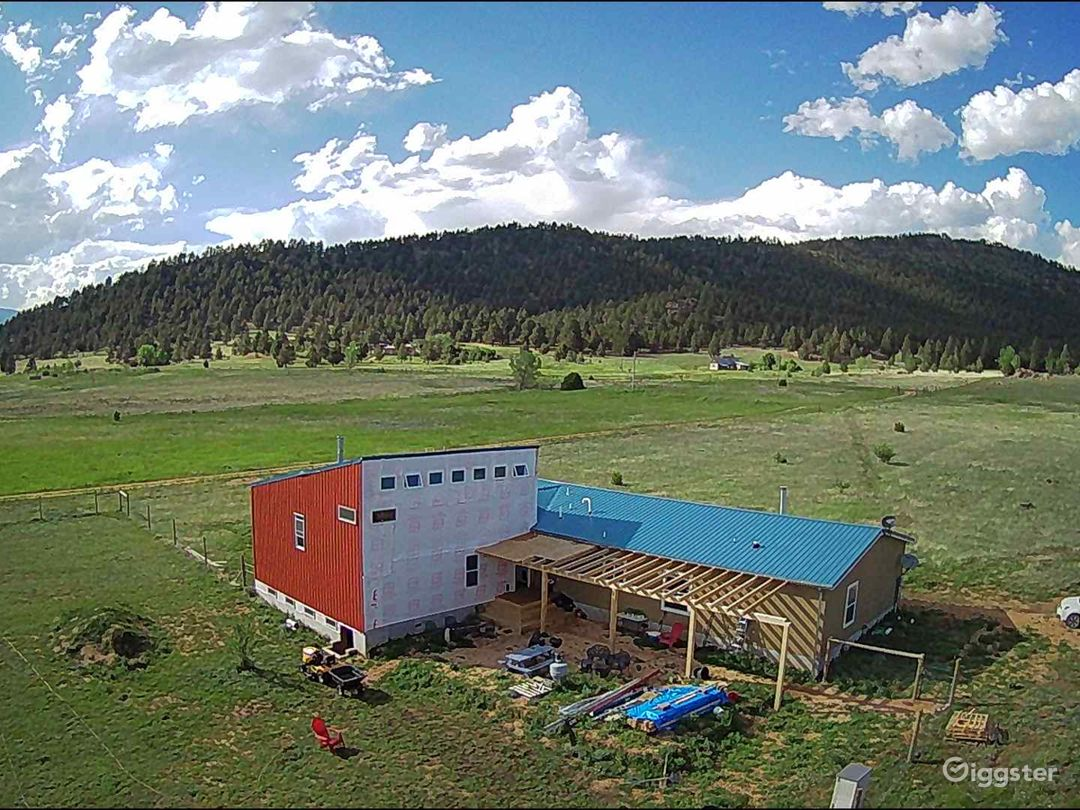 Aerial of residence and studio, fabrication workshop