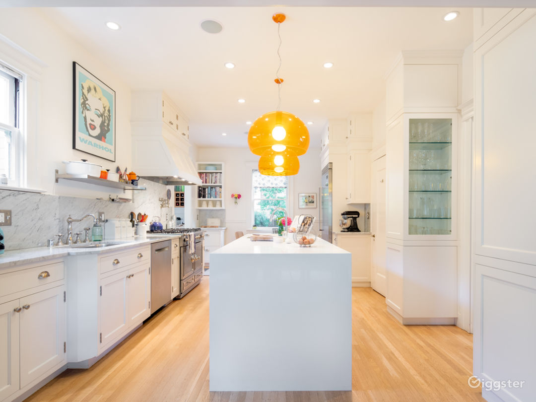 Gorgeous chef's kitchen with stainless steel appliances