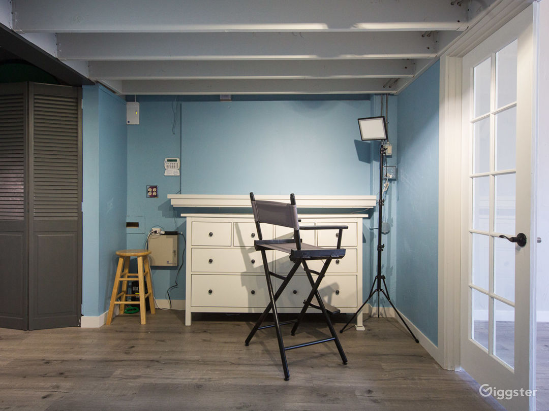 Makeup room: professional makeup lighting and chair, plus ample space for MUA's tools