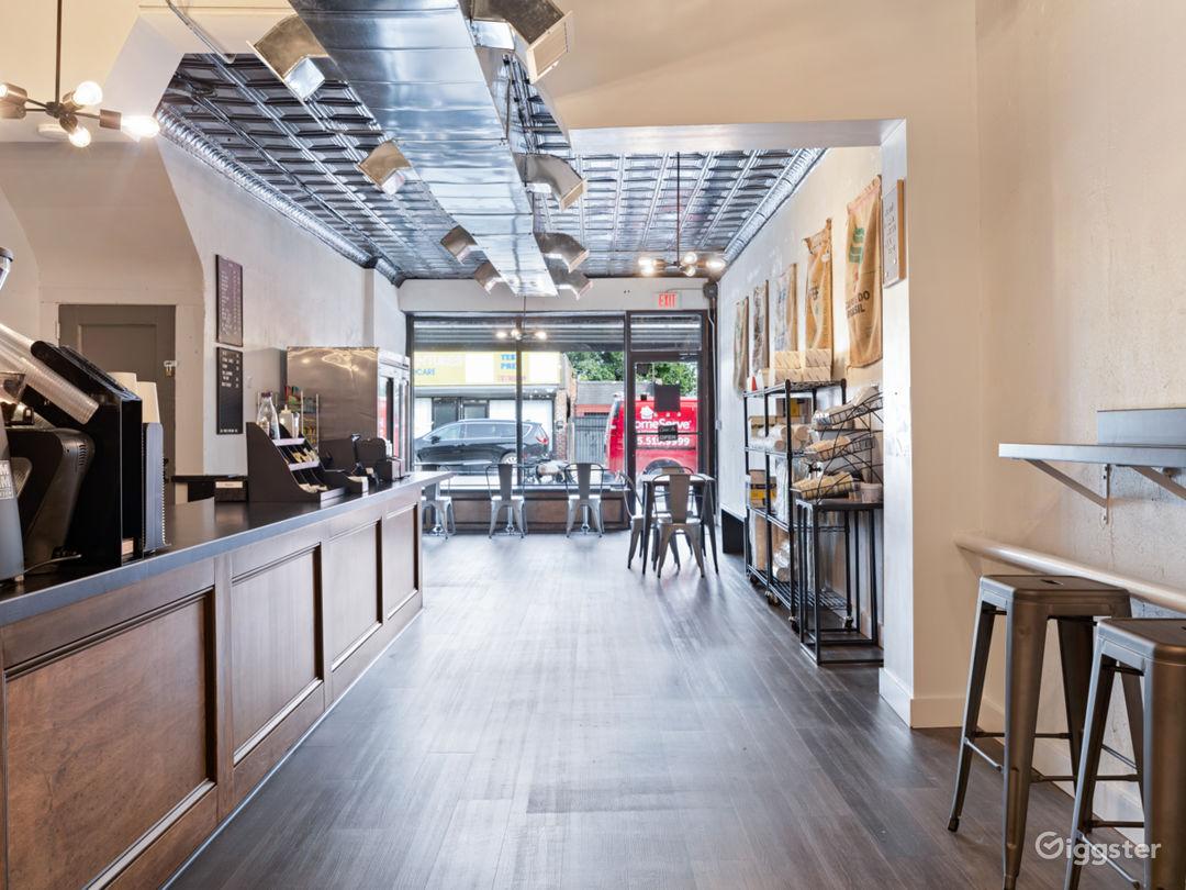 Spacious Industrial-Rustic Coffee Shop Photo 5