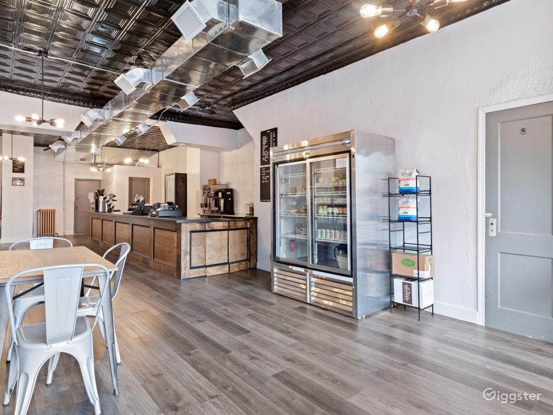 Spacious Industrial-Rustic Coffee Shop Photo 1