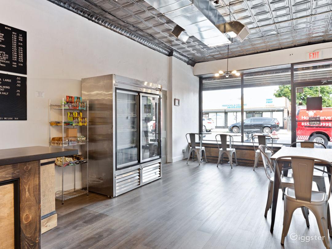 Spacious Industrial-Rustic Coffee Shop Photo 3
