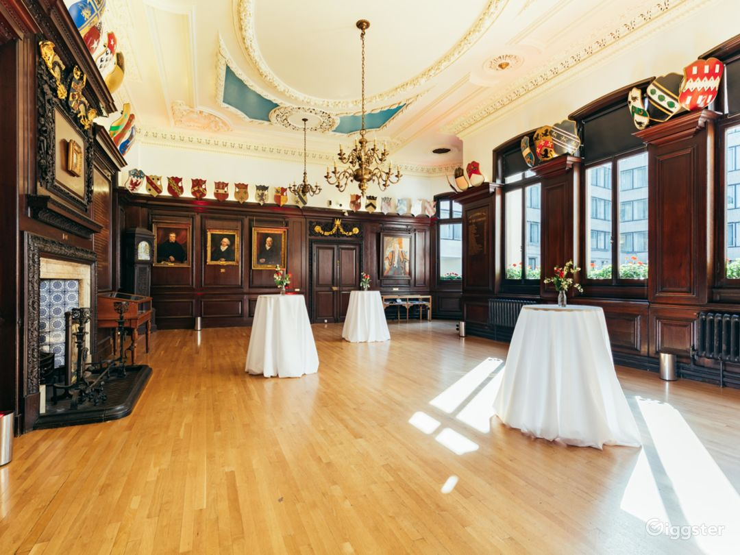 Stock Room at Stationers' Hall - #Wood-paneled room with natural daylight 17th Centaury Room with ornate ceiling and chandelier