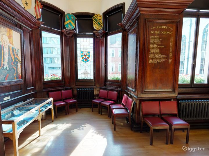 Stain-glass windows and wood-panelled room