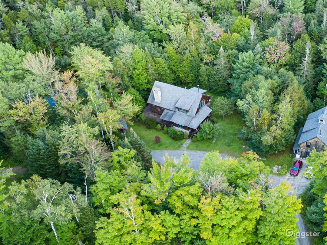 Aerial of property showing main house and guest house.