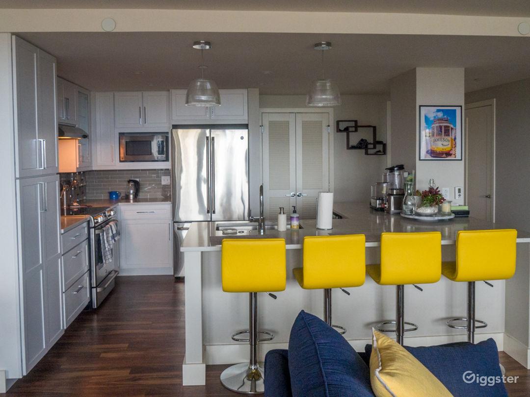Beautiful kitchen with high end appliances, wine, fridge, etc