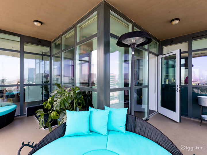Corner balcony with daybeds