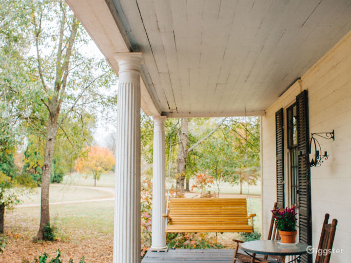 front porch, porch swing, garden in front