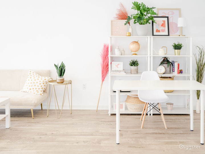Desk setup and prop shelf