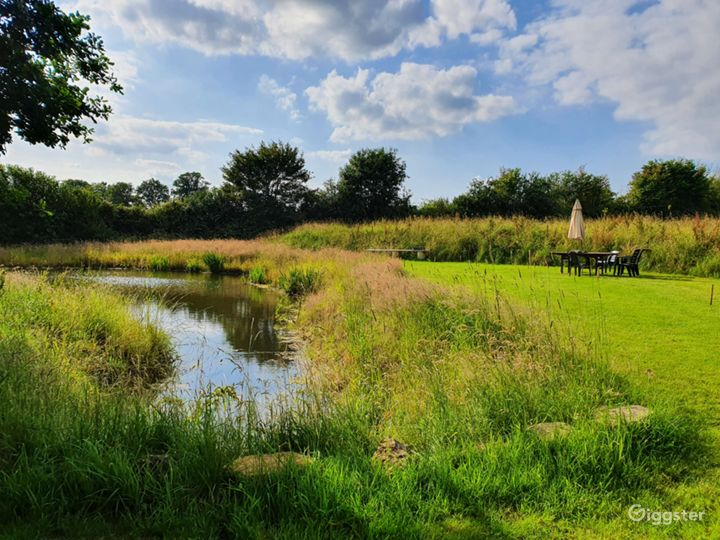 Our nature pond and croquet lawn