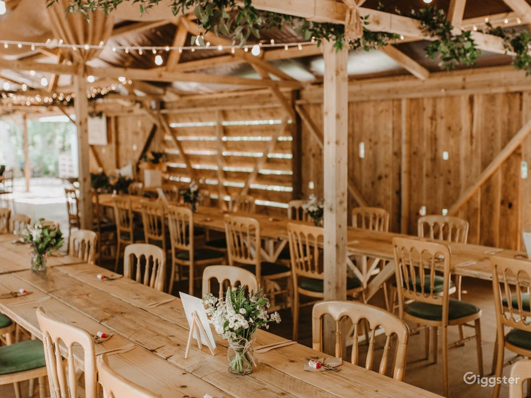 Inside of our wooden hall (21 metre long by 6 metre wide)