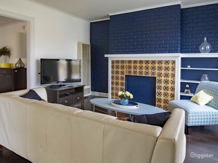 Another angle of living room. Highlights electric blue bricks and Spanish tile!