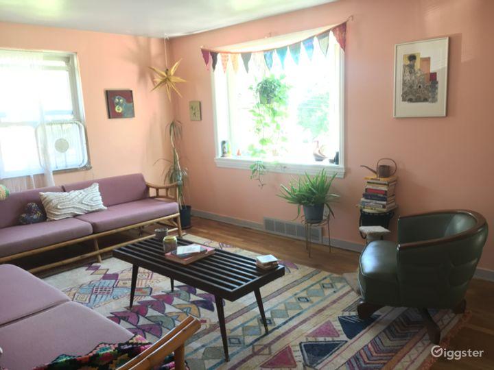 Living room, bay window view