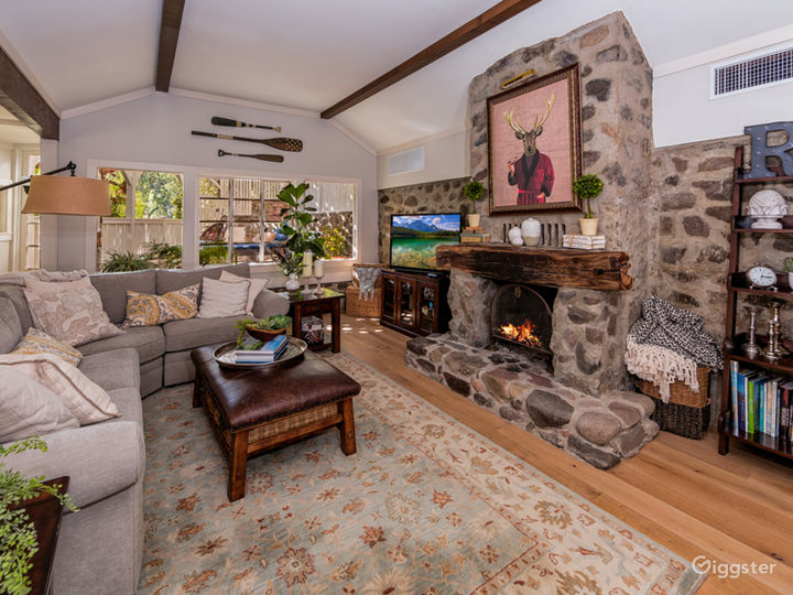Living Room with Rock Walls & Rock Fireplace