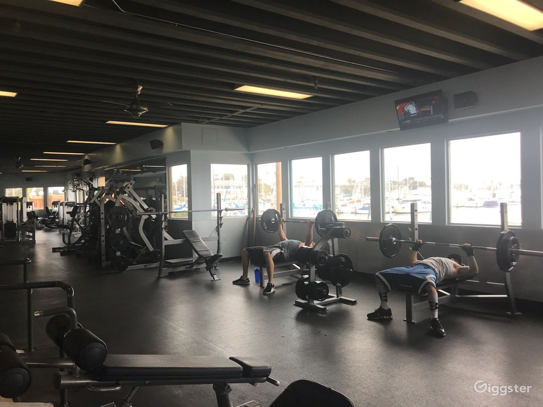 Free weight room located on the street level first floor of the club
