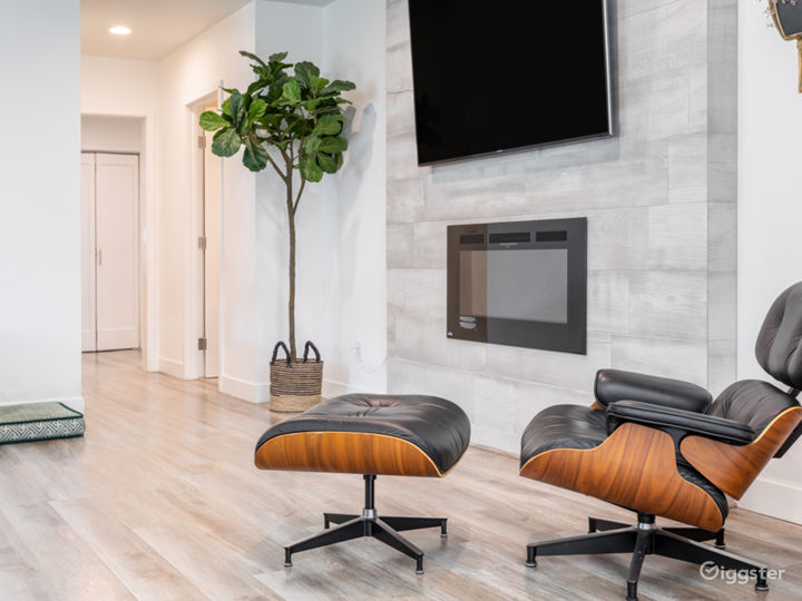 """Living area with 65"""" mounted TV, Herman Miller Classic furniture and modern electric fireplace"""