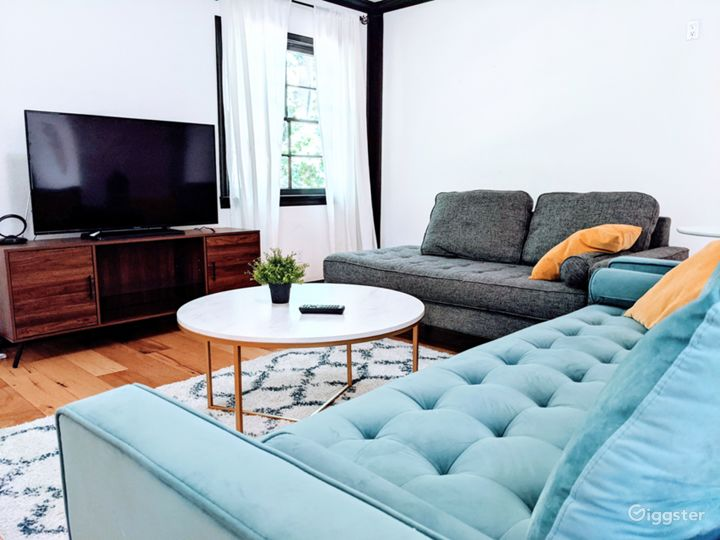 Living room with sofas and TV