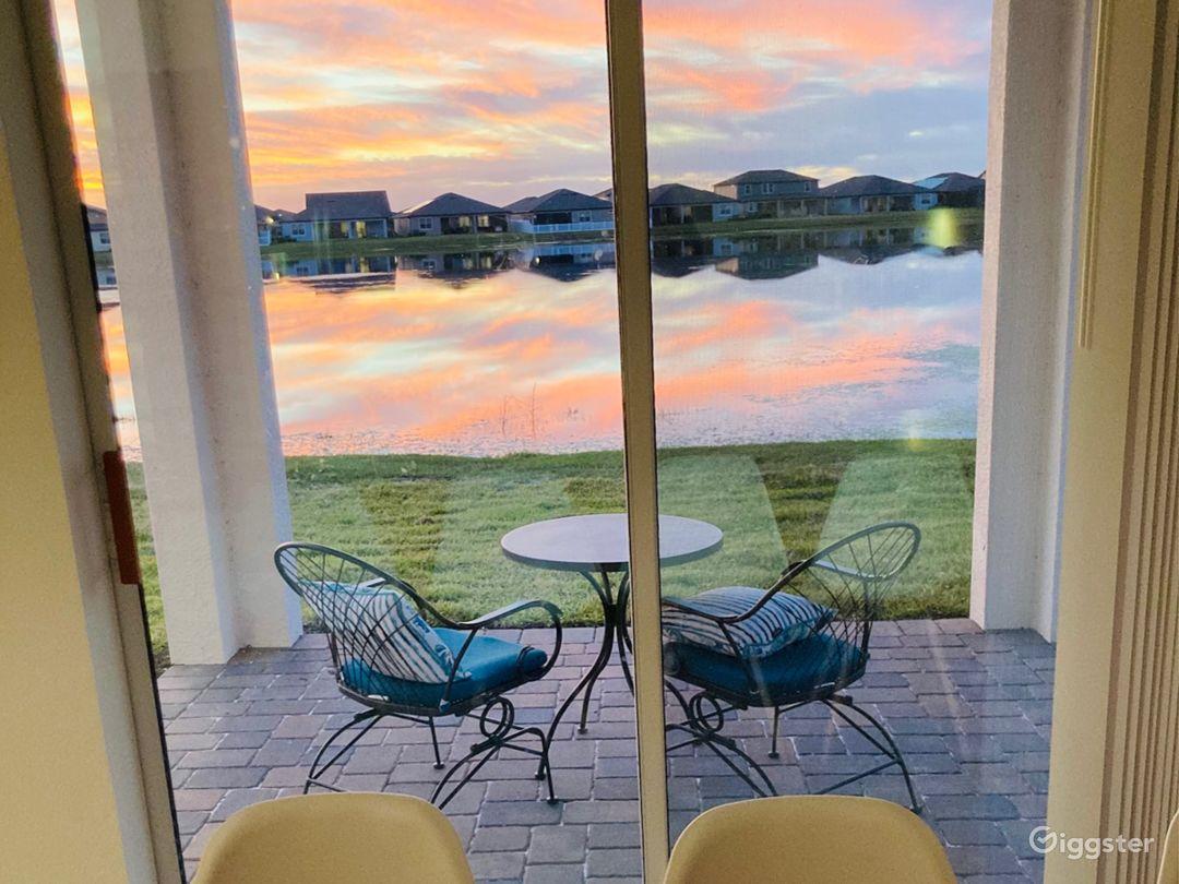 Backyard views of orange sunset skies