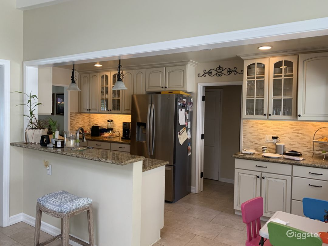 Open kitchen with stainless appliances