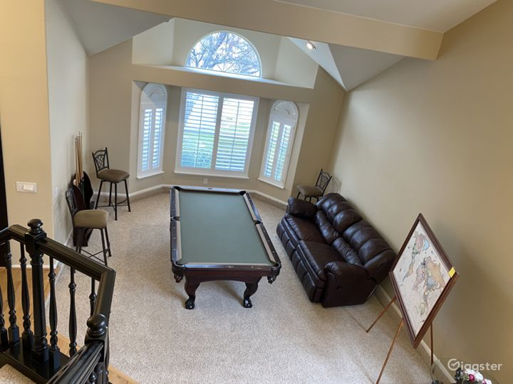 Living room with pool table