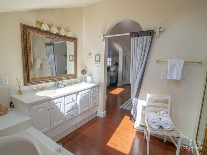 Spacious bathroom with double sinks.