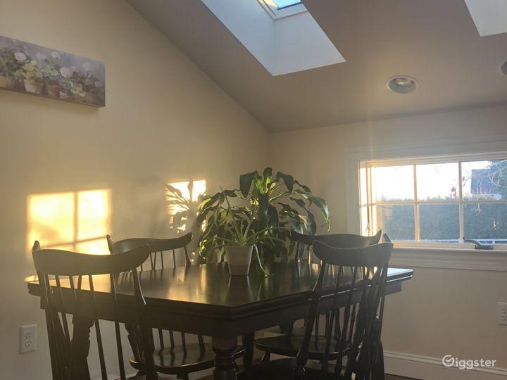 Multiple skylights create beautiful sunlit shadows.