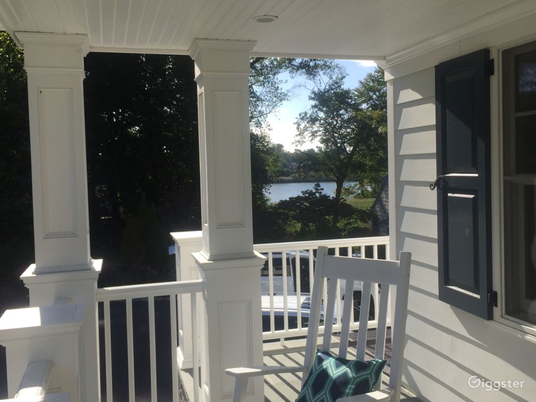 Front porch with side water view