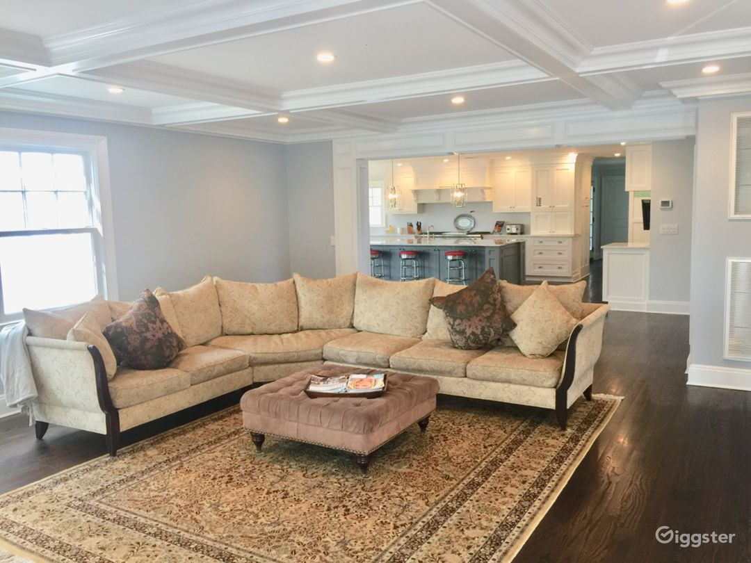 Family room open into kitchen and living room