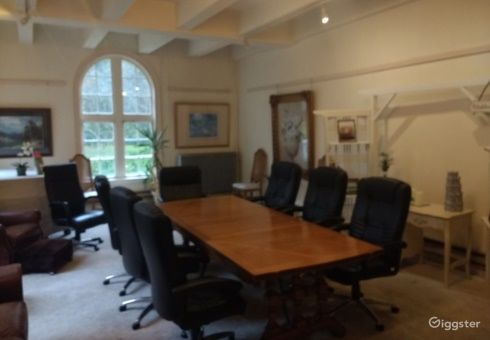 Elegant Meeting Room with View of Estate Grounds Photo 1