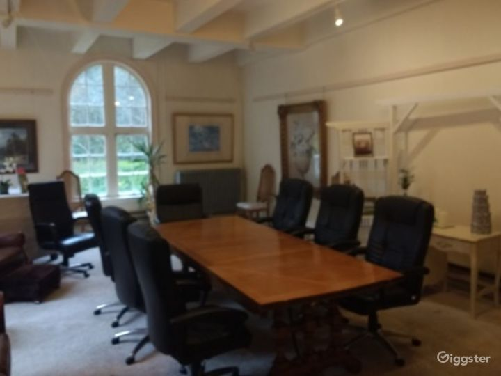Elegant Meeting Room with View of Estate Grounds