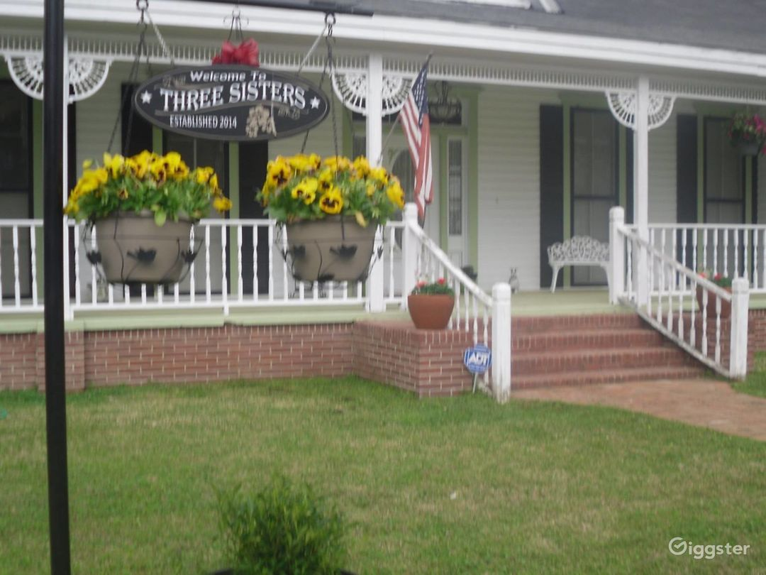 Front of House.  Flowers can be changed with the season.